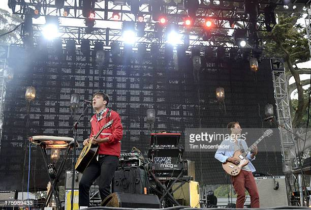 Daniel Rossen and Ed Droste of Grizzly Bear perform at Day Two of the Outside Lands Music Art Festival at Golden Gate Park on August 10 2013 in San...