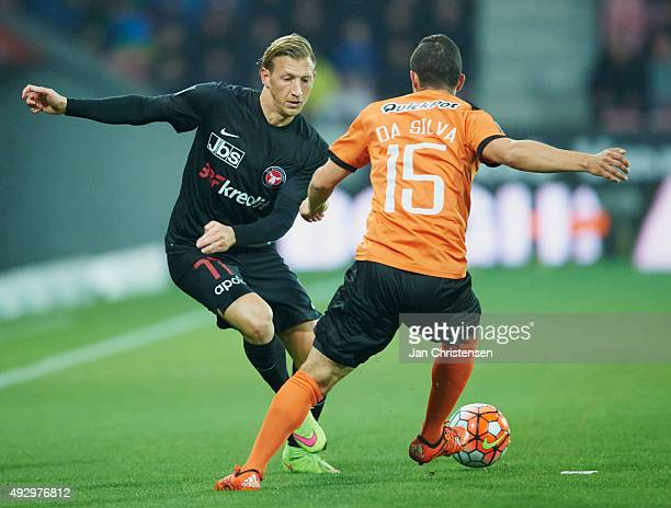 Daniel Royer of FC Midtjylland and Patrick Da Silva of Randers FC compete for the ball during the Danish Alka Superliga match between FC Midtjylland...