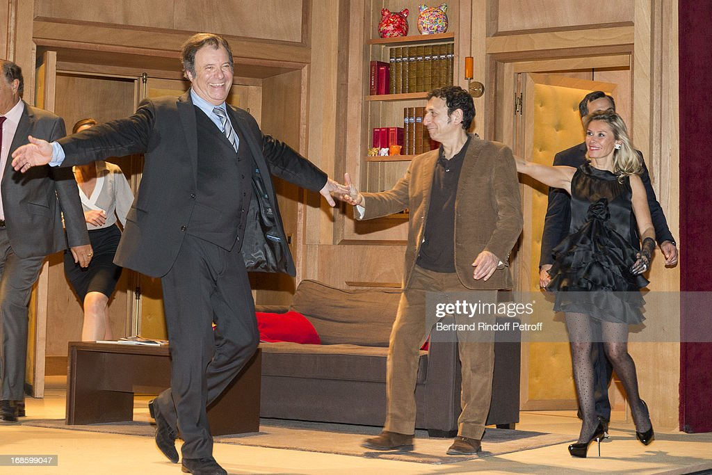 Daniel Russo, Gerard Loussine and Axelle Marine acknowledge applause following their 100th performance of the play 'Hier Est Un Autre Jour' at Theatre des Bouffes Parisiens on May 11, 2013 in Paris, France.