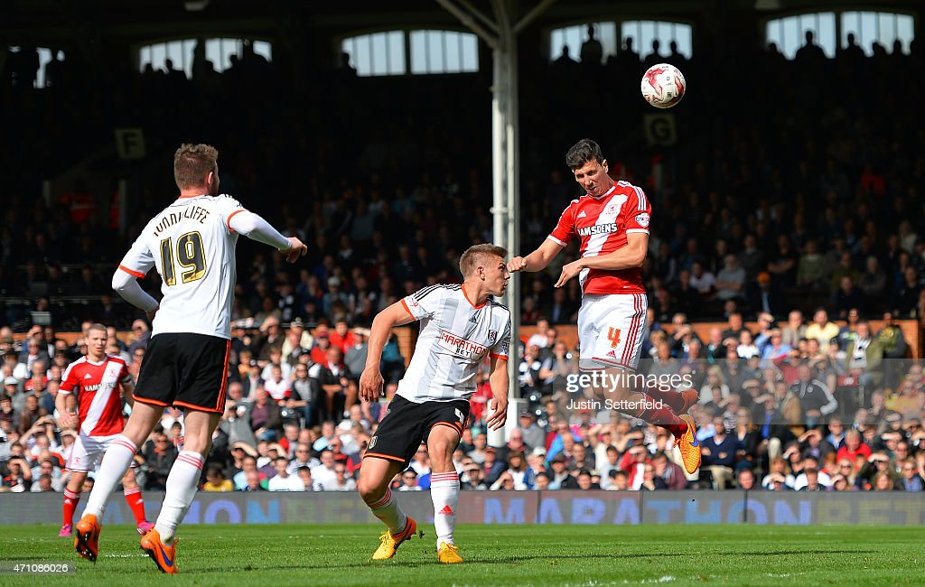 Daniel Sanchez Ayala of Middlesbrough FC scores Middlesbrough's 2nd goal during the Sky Bet Championship match between Fulham and Middlesbrough at Craven Cottage on April 25, 2015 in London, England.