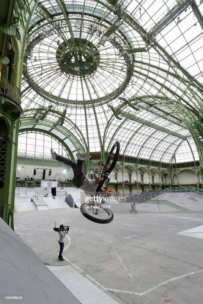 Daniel Sandoval from the USA performs during a training session for the RedBull Skylines BMX Contest at Grand Palais on November 2, 2012 in Paris, France.