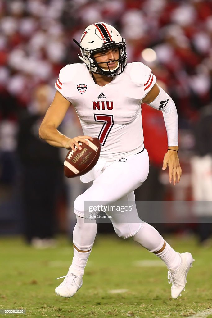 Daniel Santacaterina #7 of the Northern Illinois Huskies runs with the ball in the second quarter during the Northern Illinois v San Diego State game at Qualcomm Stadium on September 30, 2017 in San Diego, California.
