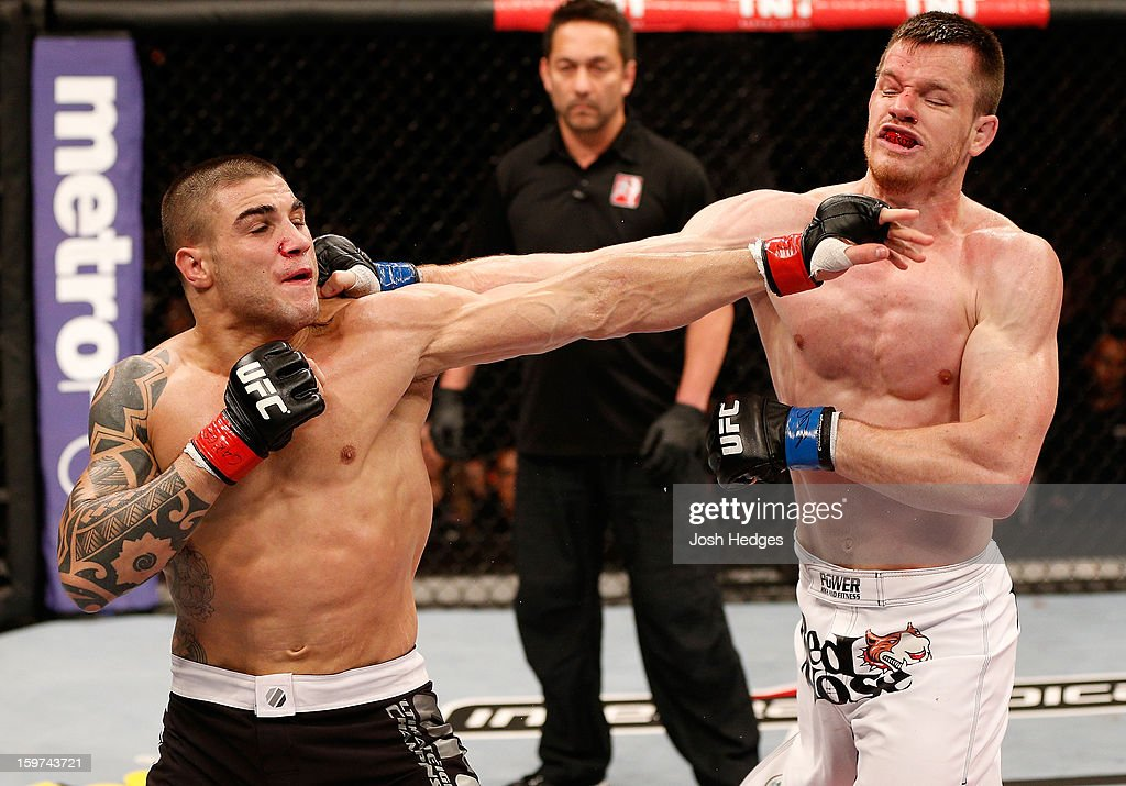 Daniel Sarafian and C.B. Dolloway trade punches in their middleweight fight at the UFC on FX event on January 19, 2013 at Ibirapuera Gymnasium in Sao Paulo, Brazil.