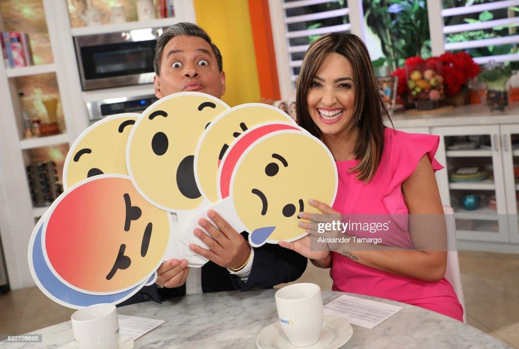 Daniel Sarcos and Erika Csiszer are seen on the set of 'Un Nuevo Dia' at Telemundo Studios on August 16, 2017 in Miami, Florida.