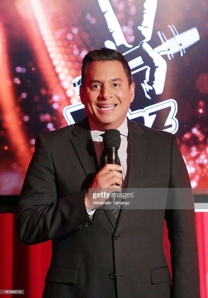 Daniel Sarcos attends a press conference for Telemundo's 'La Voz Kids' on May 2, 2013 in Miami, Florida.