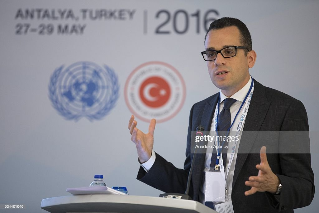 Daniel Schensul, Technical Specialist of United Nations Population Fund (UNFPA), delivers a speech during 'Socio-Economic Transformation of the Least Developed Countries' panel within the Midterm Review of the Istanbul Programme of Action at the Titanic Hotel in Antalya, Turkey on May 26, 2016. The Midterm Review conference for the Istanbul Programme of Action for the Least Developed Countries (LDCs) will take place in Antalya, Turkey from 27-29 May 2016. The conference will undertake a comprehensive review of the implementation of the Istanbul Programme of Action by the LDCs and their development partners and likewise reaffirm the global commitment to address the special needs of the LDCs.