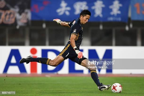 Daniel Schmidt of Vegalta Sendai in action during the JLeague J1 match between Albirex Niigata and Vegalta Sendai at Denka Big Swan Stadium on August...