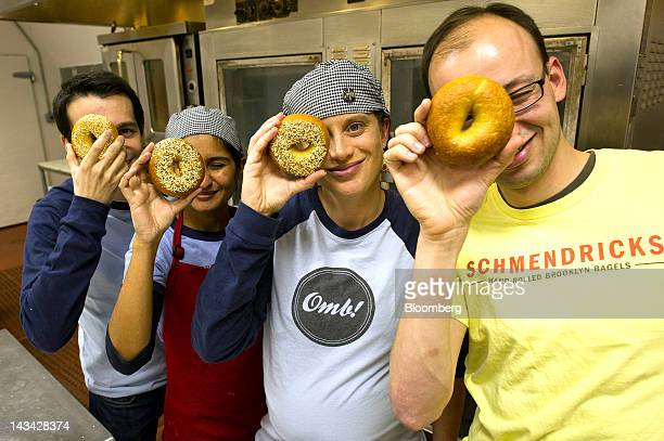 Daniel Scholnick from left Deepa Subramanian Dagny Dingman and David Kover coowners of Schmendricks Bagels stand for a photo in a kitchen in San...