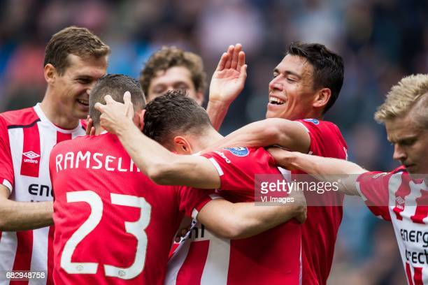 Daniel Schwaab of PSV Bart Ramselaar of PSV Santiago Arias of PSV Hector Moreno of PSV Oleksandr Zinchenko of PSVduring the Dutch Eredivisie match...