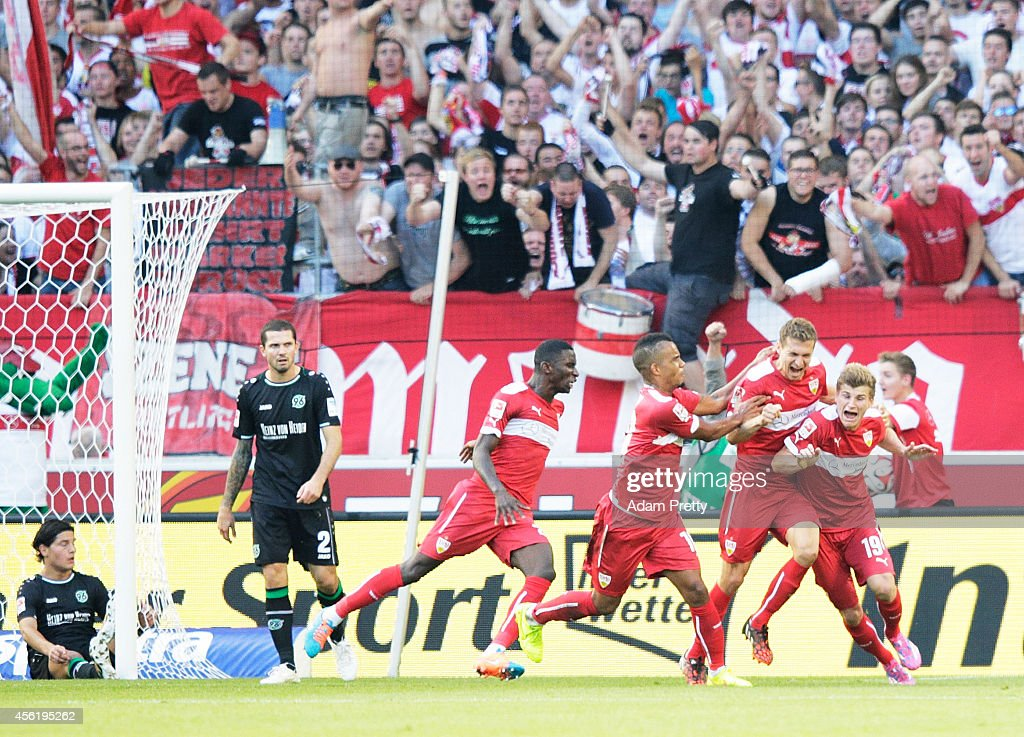 <a gi-track='captionPersonalityLinkClicked' href=/galleries/search?phrase=Daniel+Schwaab&family=editorial&specificpeople=686549 ng-click='$event.stopPropagation()'>Daniel Schwaab</a> of Stuttgart celebrates his goal during the Bundesliga match between VfB Stuttgart and Hannover 96 at Mercedes-Benz Arena on September 27, 2014 in Stuttgart, Germany.