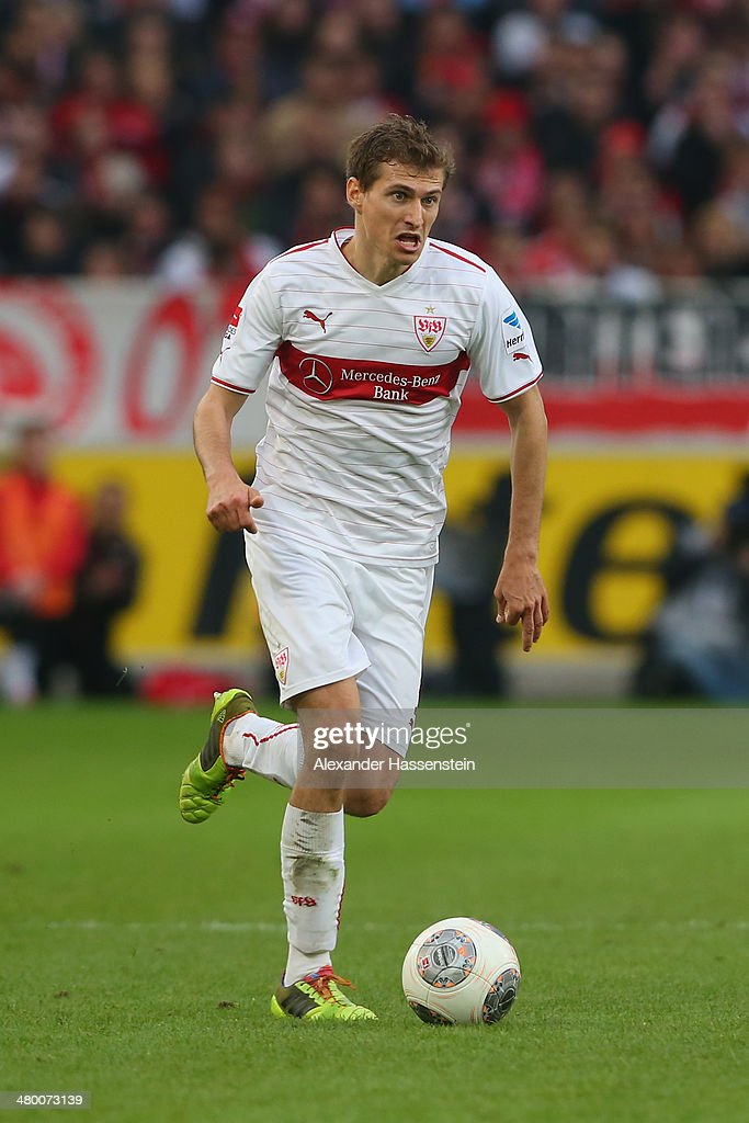<a gi-track='captionPersonalityLinkClicked' href=/galleries/search?phrase=Daniel+Schwaab&family=editorial&specificpeople=686549 ng-click='$event.stopPropagation()'>Daniel Schwaab</a> of Stuttgart runs with the ball during the Bundesliga match between VfB Stuttgart and Hamburger SV at Mercedes-Benz Arena on March 22, 2014 in Stuttgart, Germany.
