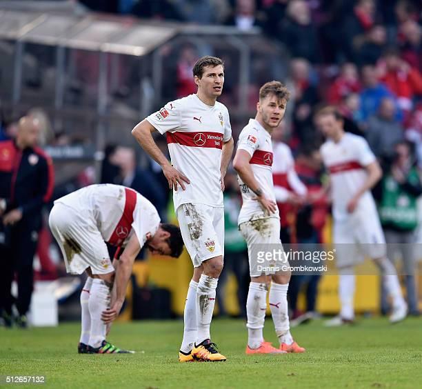 Daniel Schwaab of VfB Stuttgart looks dejected after the Bundesliga match between VfB Stuttgart and Hannover 96 at MercedesBenz Arena on February 27...