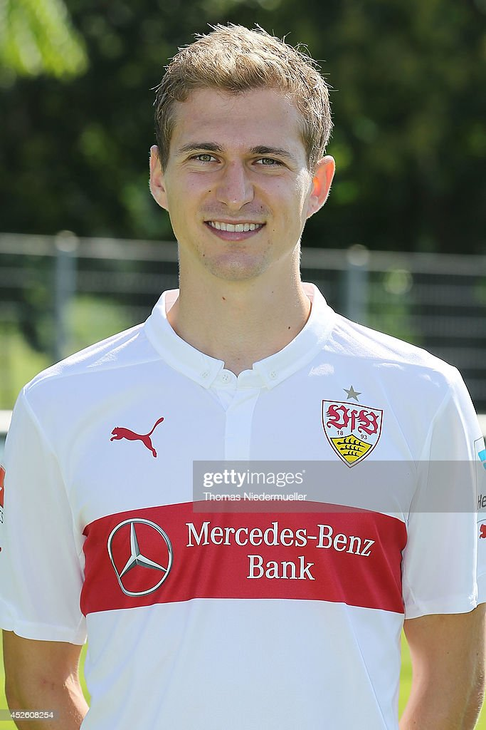 <a gi-track='captionPersonalityLinkClicked' href=/galleries/search?phrase=Daniel+Schwaab&family=editorial&specificpeople=686549 ng-click='$event.stopPropagation()'>Daniel Schwaab</a> poses during the team presentation of Stuttgart at VfB Stuttgart Training Ground on July 24, 2014 in Stuttgart, Germany.