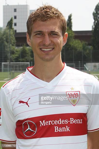 Daniel Schwaab poses during the VfB Stuttgart team presentation on July 10 2013 in Stuttgart Germany
