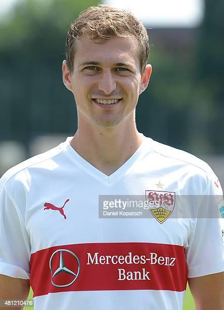 Daniel Schwaab poses during the VfB Stuttgart team presentation on July 17 2015 in Stuttgart Germany