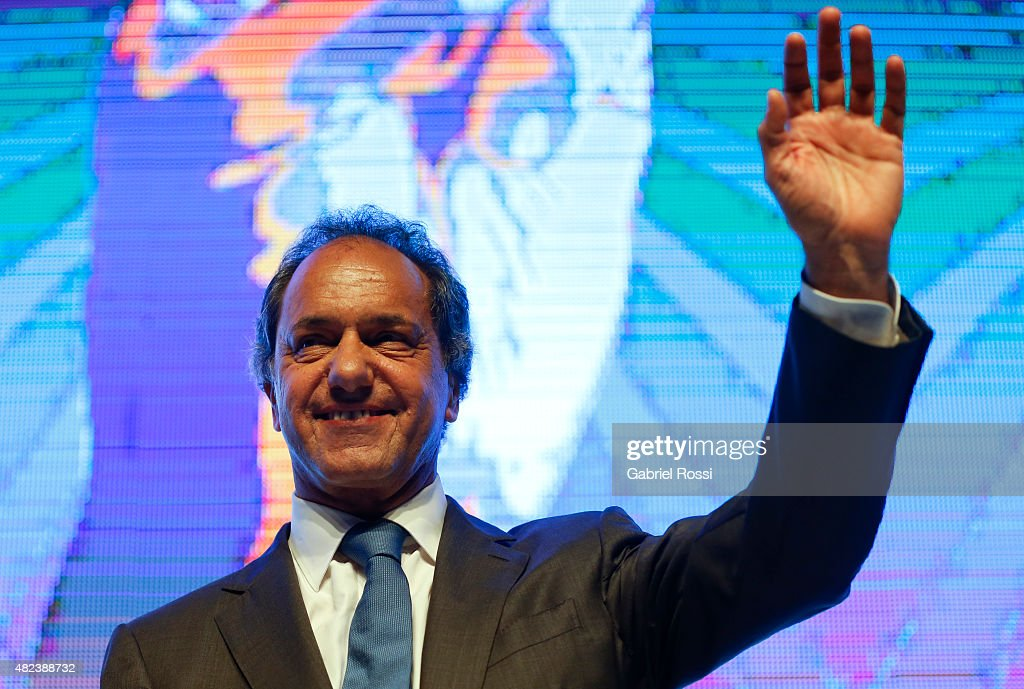<a gi-track='captionPersonalityLinkClicked' href=/galleries/search?phrase=Daniel+Scioli&family=editorial&specificpeople=616127 ng-click='$event.stopPropagation()'>Daniel Scioli</a>, Governor of Buenos Aires and Presidential pre-candidate, smiles during a conference about local government and development at Costa Salguero Centre on July 29, 2015 in Buenos Aires, Argentina. Presidential candidate <a gi-track='captionPersonalityLinkClicked' href=/galleries/search?phrase=Daniel+Scioli&family=editorial&specificpeople=616127 ng-click='$event.stopPropagation()'>Daniel Scioli</a> announced that in case he was elected president of Argentina next October 25th, he would create a Minister of Municipalities as former president Lula da Silva did on Brazil.