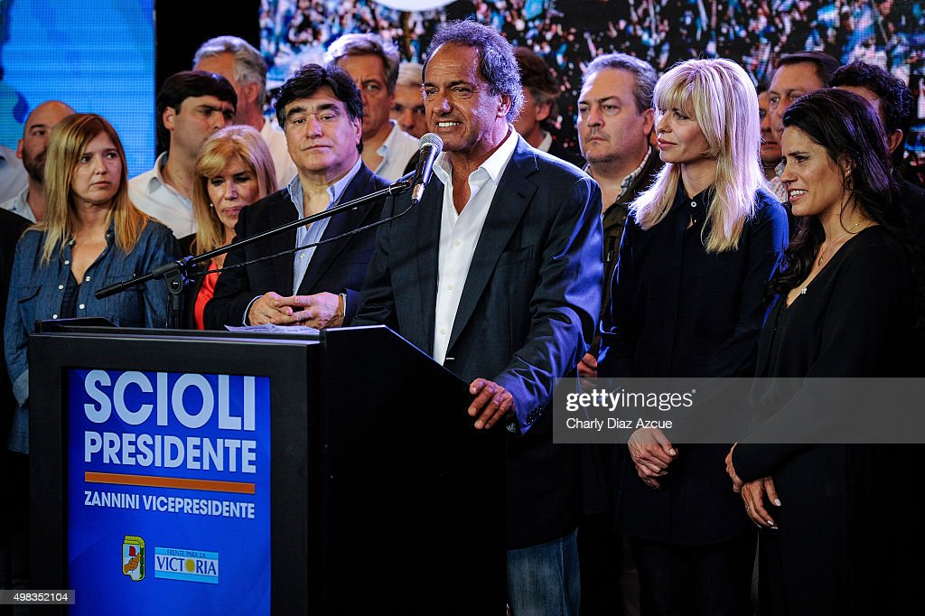 <a gi-track='captionPersonalityLinkClicked' href=/galleries/search?phrase=Daniel+Scioli&family=editorial&specificpeople=616127 ng-click='$event.stopPropagation()'>Daniel Scioli</a> Presidential Candidate for Frente Para La Victoria smiles after runoff elections at Frente Para La Victoria Bunker on November 22, 2015 in Buenos Aires, Argentina.