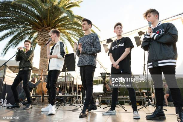 Daniel Seavey Corbyn Besson Jonah Marais Zach Herron and Jack Avery of Why Don't We visit 'Extra' at Universal Studios Hollywood on November 14 2017...