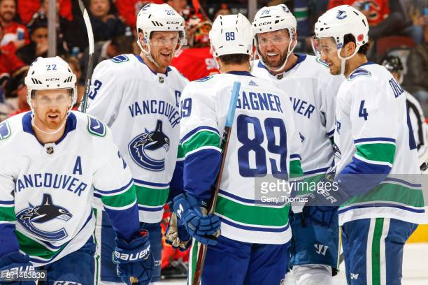 Daniel Sedin Henrik Sedin Sam Gagner Thomas Vanek and Michael Del Zotto of the Vancouver Canucks in an NHL game against the Vancouver Canucks at the...