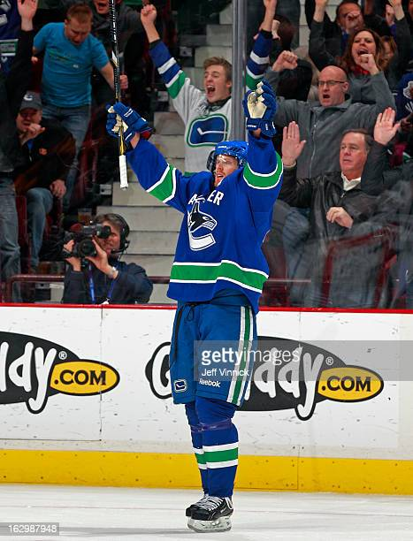 Daniel Sedin of the Vancouver Canucks celebrates after scoring against the Los Angeles Kings during their NHL game at Rogers Arena March 2 2013 in...