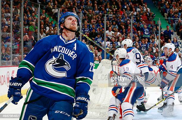 Daniel Sedin of the Vancouver Canucks looks to the heavens after missing an empty net with a shot during their NHL game against the Edmonton Oilers...