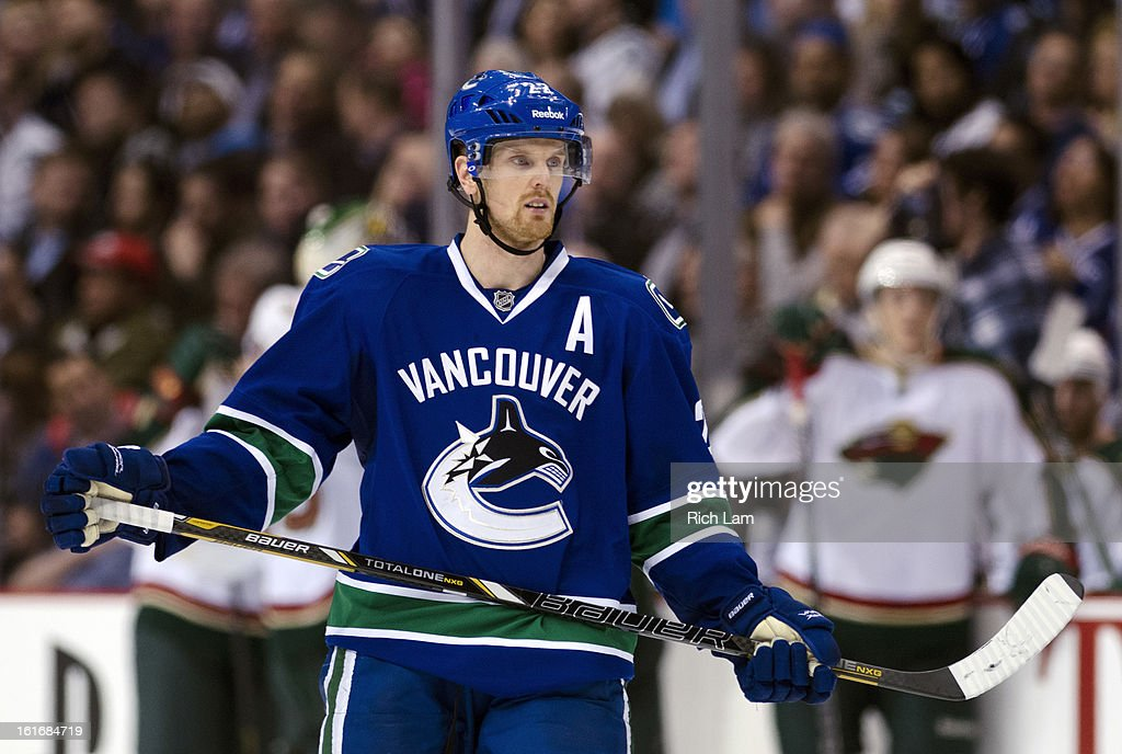 Daniel Sedin #22 of the Vancouver Canucks skates during NHL action against the Minnesota Wild on February 12, 2013 at Rogers Arena in Vancouver, British Columbia, Canada.