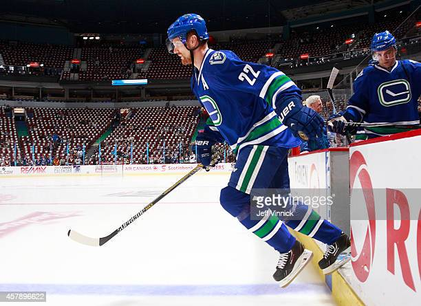 Daniel Sedin of the Vancouver Canucks steps onto the ice during their NHL game against theTampa Bay Lightning at Rogers Arena October 18 2014 in...