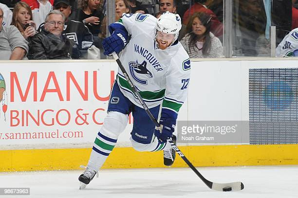 Daniel Sedin of the Vancouver Canucks takes a shot against the Los Angeles Kings in Game Four of the Western Conference Quarterfinals during the 2010...