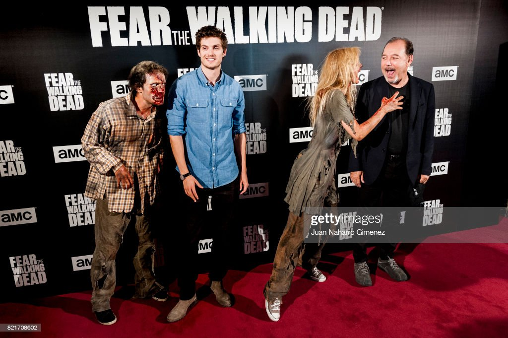 Daniel Sharman (L) and Ruben Blades attend 'Fear The Walking Dead' photocall at Callao Cinema on July 24, 2017 in Madrid, Spain.