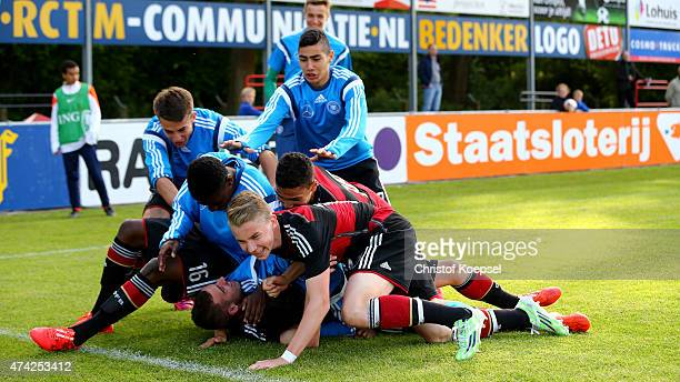 Daniel Simoes of Germany celebrates the first goal with his team mates during the international friendly match between U15 Netherlands and U15...
