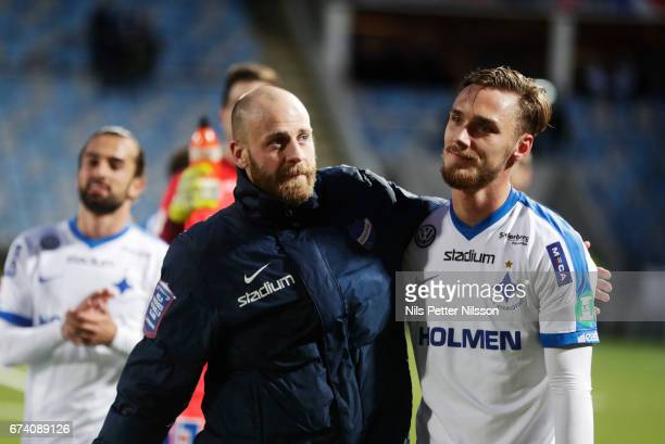 Daniel Sjolund and Linus Wahlqvist of IFK Norrkoping during the Allsvenskan match between IFK Norrkoping and Jonkopings Sodra IF at Ostgotaporten on...