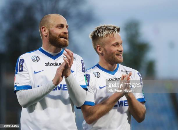 Daniel Sjolund and Nicklas Barkroth of IFK Norrkoping celebrates after the victoryduring the Allsvenskan match between IFK Norrkoping and Kalmar FF...