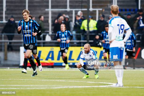 Daniel Sjolund dejected after the lost on the Allsvenskan match between IFK Norrkoping and IF Sirius FK at Ostgotaporten on April 17 2017 in...