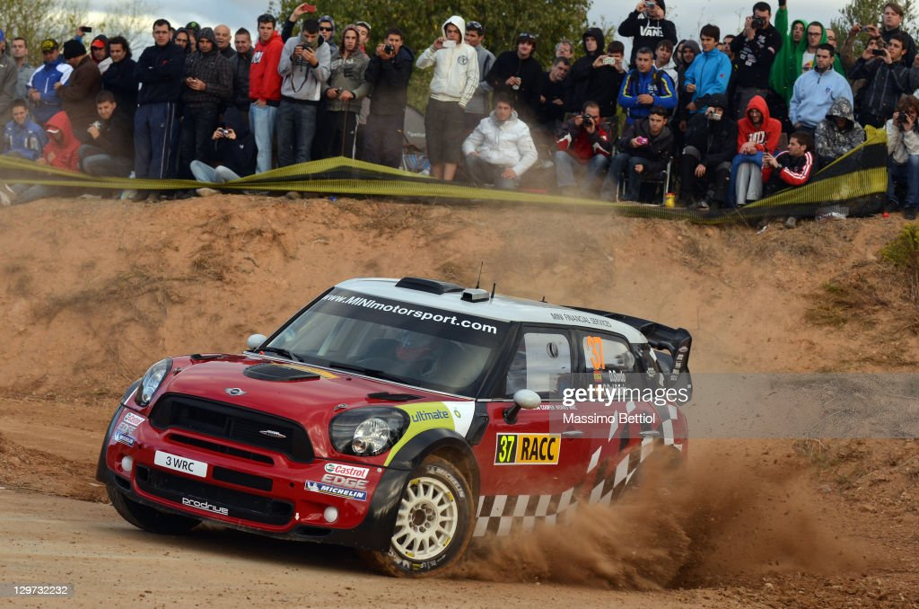 Daniel Sordo of Spain and Carlos Del Barrio of Spain compete in their Mini Wrc Team Mini John Cooper Works WRC during the Shakedown of the WRC Rally of Spain on October 20, 2011 in Salou, Spain.
