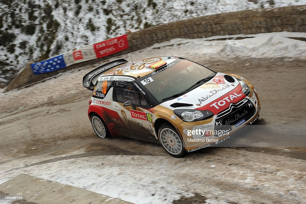 Daniel Sordo of Spain and Carlos Del Barrio of Spain compete in their Citroen Total Abu Dhabi WRT Citroen DS3 WRC during Day Three of the WRC Monte-Carlo on January 18 , 2013 in Montecarlo ,Monaco.