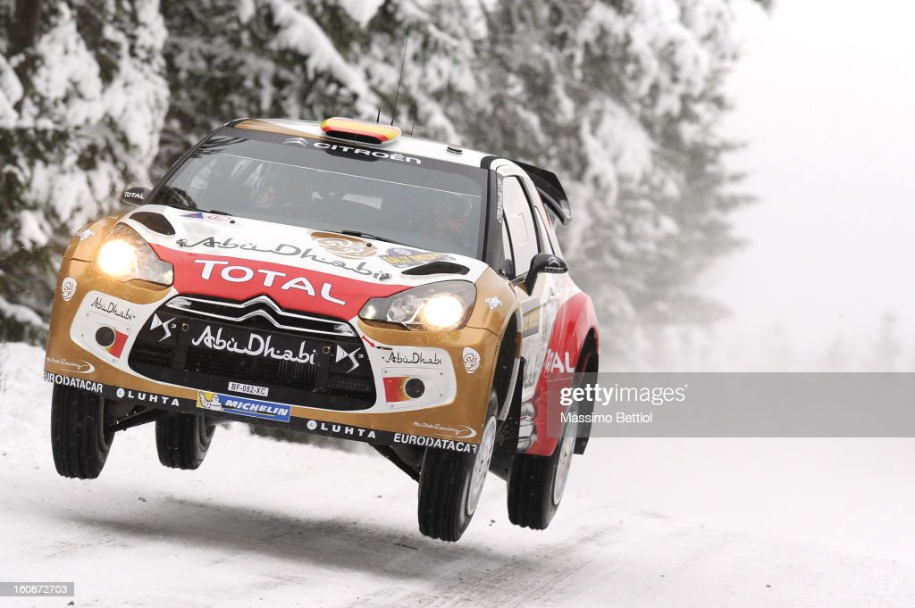 Daniel Sordo of Spain and Carlos Del Barrio of Spain compete in their Abu Dhabi Citroen total WRT Citroen DS3 WRC during the Shakedown of the WRC Sweden on February 07, 2013 in Karlstad, Sweden.