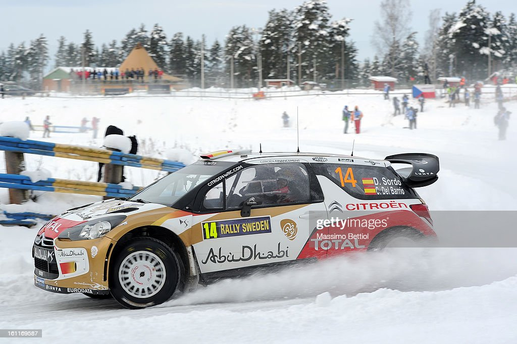 Daniel Sordo of Spain and Carlos Del Barrio of Spain compete in their Abu Dhabi Citroen Total WRT Citroen DS3 WRC during Day Two of the WRC Sweden on February 09 , 2013 in Karlstad , Sweden.
