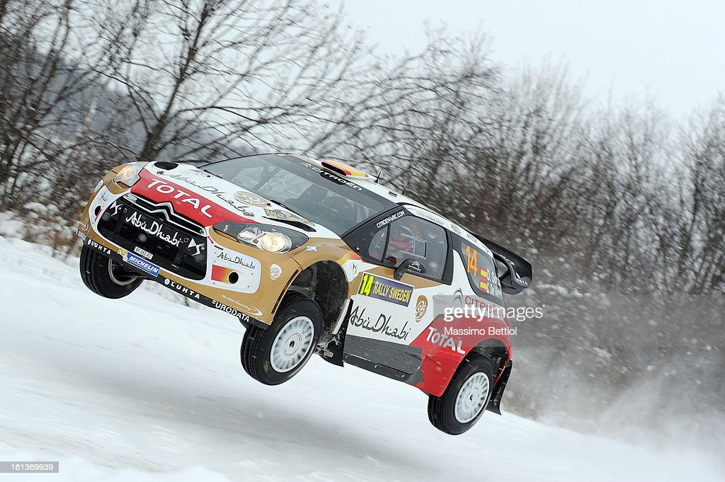 Daniel Sordo of Spain and Carlos Del Barrio of Spain compete in their Abu Dhabi Citroen Total WRT Citroen DS3 WRC during Day Three of the WRC Sweden on February 10 , 2013 in Karlstad , Sweden.