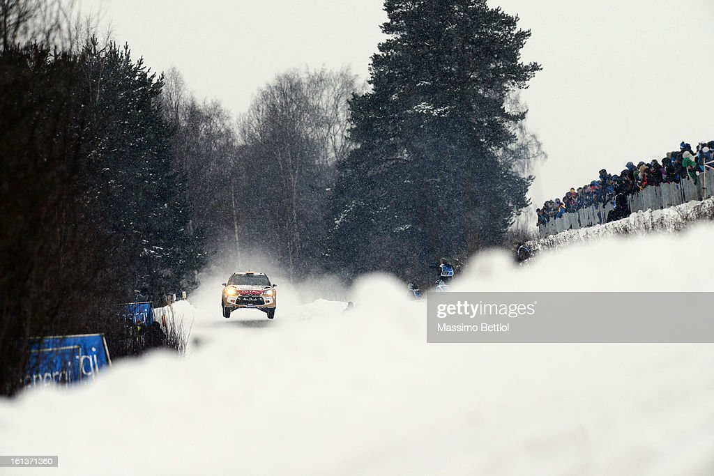 Daniel Sordo of Spain and Carlos Del Barrio of Spain compete in their Abu Dhabi Citroen Total WRT Citroen DS3 WRC during Day Three of the WRC Sweden...