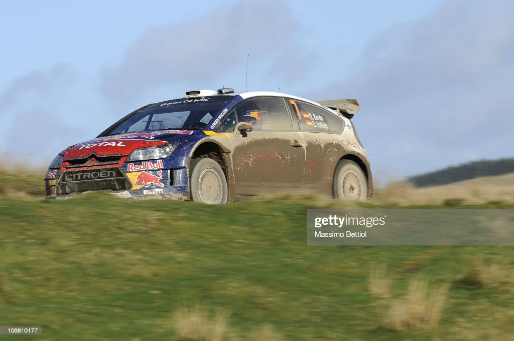 Daniel Sordo of Spain and Diego Vallejo of Spain compete in their Citroen C4 Junior Team during Leg 2 of the WRC Wales Rally GB on November 13, 2010 in Cardiff, Wales.