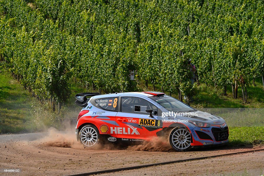 Daniel Sordo of Spain and Marc Marti of Spain compete in their Hyundai Motorsport Hyundai i20 WRC during Day Two of the WRC Germany on August 22, 2015 in Trier, Germany.