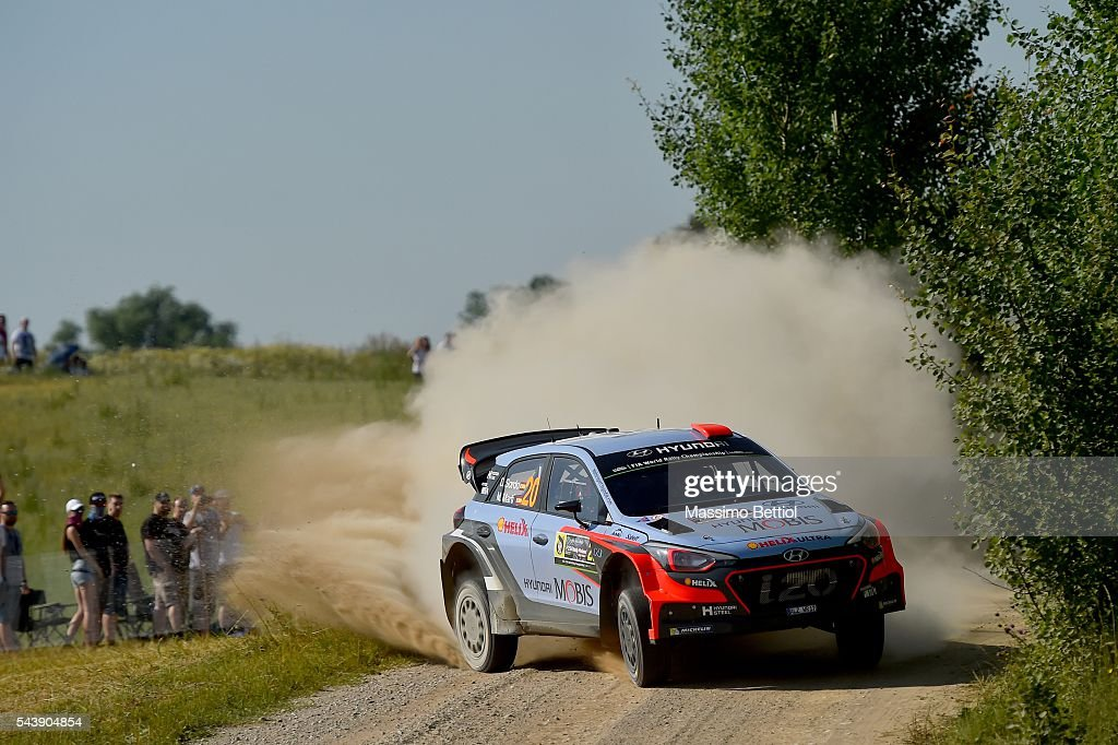 Daniel Sordo of Spain and <a gi-track='captionPersonalityLinkClicked' href=/galleries/search?phrase=Marc+Marti&family=editorial&specificpeople=226797 ng-click='$event.stopPropagation()'>Marc Marti</a> of Spain compete in their Hyundai Motorsport N Hyundai i20 WRC during the Shakedown of the WRC Poland on June 30, 2016 in Mikolajki, Poland.