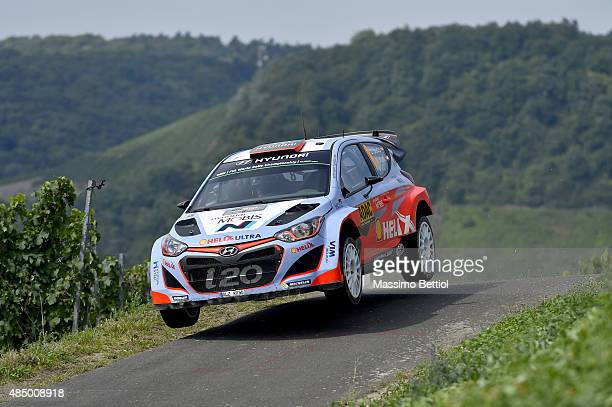 Daniel Sordo of Spain and Marc Marti of Spain compete in their Hyundai Motorsport WRT Hyundai i20 WRC during Day Three of the WRC Germany on August...