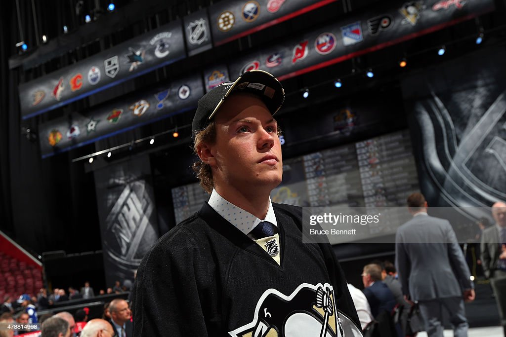 Daniel Sprong looks on after being selected 46th overall by the Pittsburgh Penguins during the 2015 NHL Draft at BB&T Center on June 27, 2015 in Sunrise, Florida.