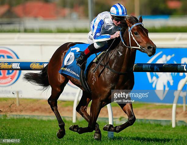 Daniel Stackhouse riding Bassett wins race 3 the Taralye Listen Learn Speak Plate during Taralye Race Day at Caulfield Racecourse on May 16 2015 in...