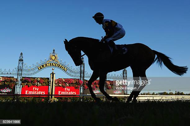 Daniel Stackhouse riding Cool Chap heads to the start before winning Race 5 the VRC St Leger during Melbourne ANZAC Day Racing at Flemington...