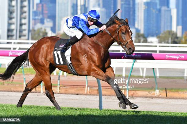 Daniel Stackhouse riding Sovereign Nation winning Race 5 Lloyd Williams Hall of Fame Trophy during Melbourne Racing at Flemington Racecourse on May...