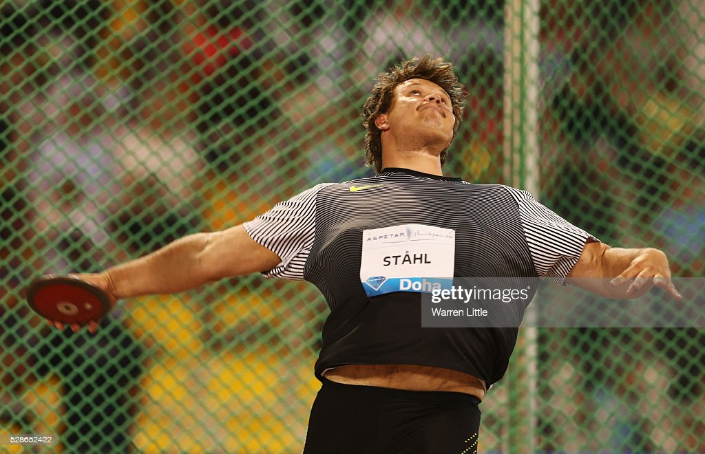 Daniel Stahl of Sweden competes in the Men's Discus final during the Doha IAAF Diamond League 2016 meeting at Qatar Sports Club on May 6, 2016 in Doha, Qatar.