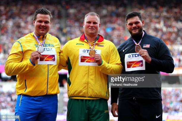 Daniel Stahl of Sweden silver Andrius Gudzius of Lithuania gold and Mason Finley of the United States broze pose with their medals for the Men's...