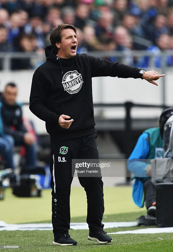 Daniel Stendel, head coach of Hannover shouts during the Bundesliga match between Hannover 96 and FC Schalke 04 at the HDI Arena on April 30, 2016 in Hanover, Lower Saxony.